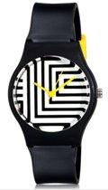 Trendy - zwart-wit gestreept - dames/tiener horloge met gele accenten - 40 mm - I-deLuxe verpakking