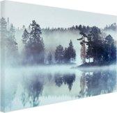 Bos omringd door mist Canvas 30x20 cm - Foto print op Canvas schilderij (Wanddecoratie woonkamer / slaapkamer)
