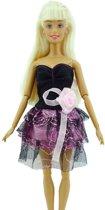 Korte  zwart- paarse jurk voor de Barbie pop