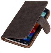 Samsung Galaxy S5 Hoesje Hout Bookstyle Grijs