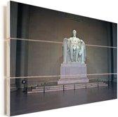 Het Lincoln Memorial overzicht Vurenhout met planken 90x60 cm - Foto print op Hout (Wanddecoratie)