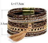 Fashion armband met kwastje / magneetsluiting
