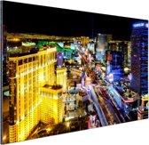Skyline Las Vegas in de nacht Aluminium 60x40 cm - Foto print op Aluminium (metaal wanddecoratie)