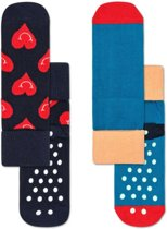 Happy Socks 2-Pack Antislip, Smiley Heart, 2-3 jaar, Maat 24-26