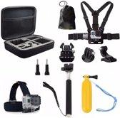 Aretica 11-delige GoPro accessoire set / Accessoire set voor de GoPro / Head mount, chest mount, selfiestick en meer - Zwart