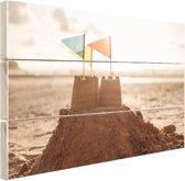 Zandkasteel op het strand Hout 80x60 cm - Foto print op Hout (Wanddecoratie)