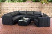 Clp Wicker Poly rotan lounge set TIBERA, met opbergruimte (2 x 2-zitsbank + fauteuil + hoekbank + tafel 110 x 60 cm + 9 cm dikke bekleding) 5 mm dikke poly rotan - kleur rotan : zwart Bekleding: antraciet