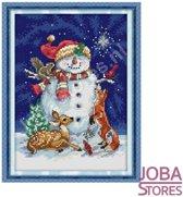 Borduur Pakket Sneeuwpop 11CT voorbedrukt (27x38cm)