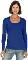 Bodyfit dames shirt met lange mouwen XL kobalt