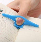 Boekenlegger - Boek Houder - Bladwijzer - Boekensteun - Multifunctionele Boek Holder voor Duim Vinger Ring Duimring Boek Marker - Blauw 2 Stuks