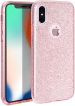 iPhone Xr Hoesje Glitters Siliconen TPU Case Rose - BlingBling Cover