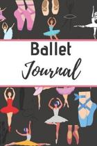 Ballet Journal: Ballet journal- Black-Ballet Ruled lined White Notebook Cover Logbook page 6x9 inches, 122 pages Perfect to write note