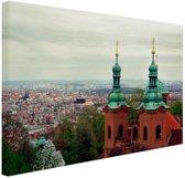 Uitzicht over Praag Canvas 30x20 cm - Foto print op Canvas schilderij (Wanddecoratie)