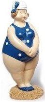 Beeld staande dikke dame met blauw/wit  badpak 12 cm
