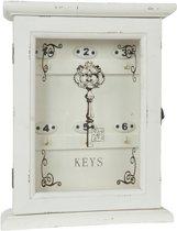 Clayre & Eef Sleutelkast wit hout glas 25x8x32 cm