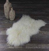 Lamsvachtje - IJslandse Schapenvacht Gekruld Haar - Wit Ivoor - 110 x 65 cm - Zeer Lang Haar - 100% ECHT - Schapenvachtje Vloerkleed - Lam Huid