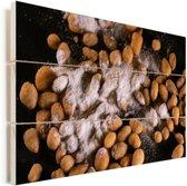 Gebakken zonnebloempitten bedekt met bloem Vurenhout met planken 30x20 cm - klein - Foto print op Hout (Wanddecoratie)