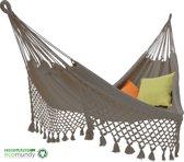 ECOMUNDY ROMANCE L 340 ANTRACIET  - Luxe hangmat met franje - handgeweven biologisch katoen (GOTS) - 130x200x340cm - Max 150kg