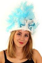 Fur hoed blauw/wit