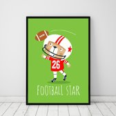 Postercity - Design Canvas Poster Beer de Football Player / Kinderkamer / Babykamer - Kinderposter / Babyshower Cadeau / Muurdecoratie / 40 x 30cm / A3