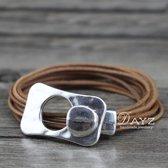 Wikkel Armband Dayz Leer Naturel Bruin | Edelmetaal | Armband met Gesp