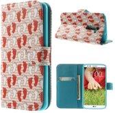 LG Optimus G2 Wallet Stand Case Footprints