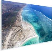Helder blauw water bij de Kust van Ningaloo Plexiglas 90x60 cm - Foto print op Glas (Plexiglas wanddecoratie)