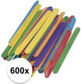 600 gekleurde ijsstokjes knutselhoutjes 5,5 cm - knutselstokjes