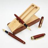 Houten pennen met houten pennenhouder - Vulpen en balpen duo - Perfect schrijfgemak