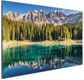 Dolomieten Lago Carezza Italië Aluminium 120x80 cm - Foto print op Aluminium (metaal wanddecoratie)