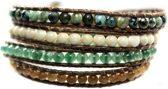 Bela Donaco Wikkel armband Bohemian Green - Afrikaanse Turquoise facet, Cat Eye, Fossil en Aventurijn