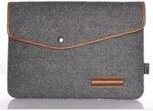 """Vilten Soft Sleeve Voor De Laptop & Apple Macbook Air / Pro (Retina) 13 Inch - 13.3"""" Case - Bescherming Cover Hoes - Zwart Grijs"""