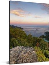 Kleurrijke lucht boven het Nationaal park Mljet in Kroatië Aluminium 20x30 cm - klein - Foto print op Aluminium (metaal wanddecoratie)