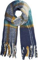 Extra dikke sjaal Keep me Warm Wintersjaal dames Blauw geel Geruit geblokt