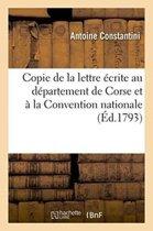 Copie de la Lettre �crite Au D�partement de Corse Et � La Convention Nationale