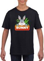Bunny het konijn t-shirt zwart voor kinderen - unisex - konijnen shirt XL (158-164)