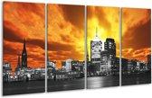 Glasschilderij Gebouw | Oranje, Bruin, Grijs | 160x80cm 4Luik | Foto print op Glas |  F002460