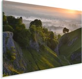 Zonsopgang bij het Nationaal park Peak District in Engeland Plexiglas 90x60 cm - Foto print op Glas (Plexiglas wanddecoratie)