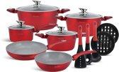 Edënbërg Red Line -15-delige Luxe Pannenset van Gesmeed Aluminium - Rood/Metallic