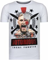 Local Fanatic Notorious Warrior - McGregor Rhinestone T-shirt - Wit - Maten: XXL