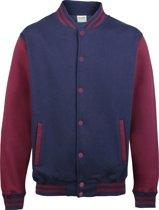 AWDis Varsity jacket, Oxford Navy/Burgundy, Maat XXL