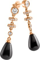 Diamonfire - Zilveren oorhangers Pearls - Zirkonia - Zwarte parel - Rosegoudverguld