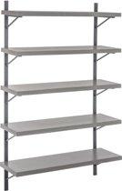 Duverger Industry Grey - Wandrek - 5 legplanken - grijs - hout - beton finish - metalen frame