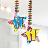 Spiraalversiering Birthday Blocks 11 jaar - 2 stuks