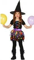 Gekleurd heksen kostuum voor meisjes 128-134 (7-9 jaar)