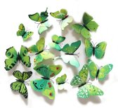 Ditto - 3D Vlinder Muursticker - Huis Decoratie - Groen - 12 stuks - 3D Butterfly Wall Sticker - Home Decoration - Green - 12 pieces