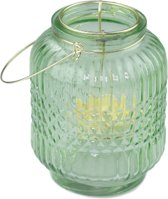 Mini Theelicht Lantaarn met hengsel - Groen/Goud - Glas