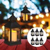 relaxdays 8 x led lantaarn - vlameffect - sfeerverlichting - windlicht – zwart