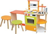Lelin Toys - Speelkeuken met Zitgedeelte - Bon Appetit - DeLuxe - Aanrechthoogte is 50 centimeter