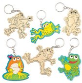 Houten sleutelhangers met kikkers om in te kleuren die kinderen kunnen versieren – Creatieve knutselset (6 stuks per verpakking)